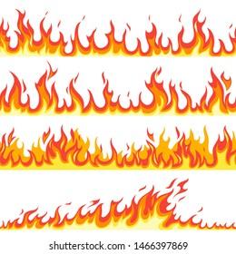 Seamless fire flame. Fires flaming pattern, flammable line blaze hot temperature, gas blazing wallpaper cartoon firewall textured frames set