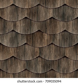 Seamless fish scales wood roof texture (dark)