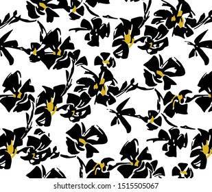 seamless floral abstract black flower white background
