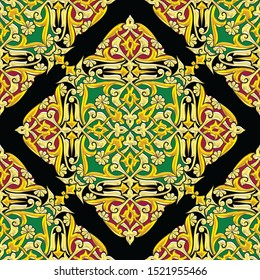 Seamless floral Arabesque pattern tiles in 300 dpi resolution, Islamic art for multiple purposes.