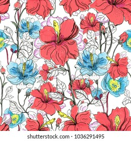 Seamless floral background with flowers. Hand painted drawing.