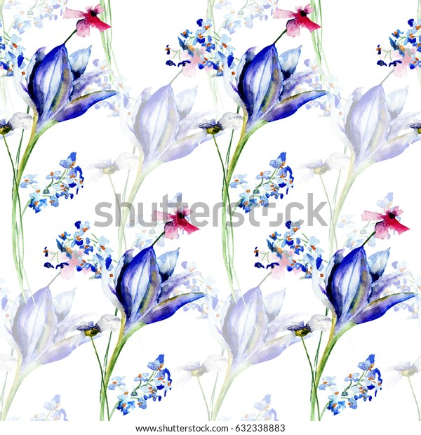 Seamless floral background with flowers, Watercolor painting