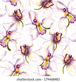 Seamless floral background with white orchid flower. Hand painted watercolor drawing