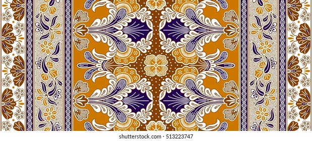 Seamless floral beautiful batik background. Able to repeat for textile printing.