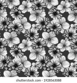 Seamless floral black and white pattern. Hand drawn watercolor illustration on dark gray background. Buds of garden flowers of zinnia, anemones, daisies. Monochrome design for fabric and packaging.