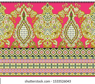 Seamless floral border based on Asian design elements