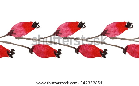 Seamless floral  border ornament with  red  berries of brier  on white  background.  Watercolor.