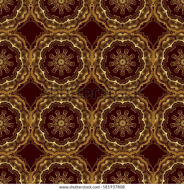 Seamless floral border with vintage golden ornament on brown background. Golden seamless pattern.