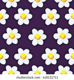 Seamless floral daisy pattern.watercolor.Hand painted. purple background