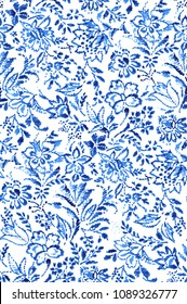 seamless floral embroidery pattern. Folk design with flowers, leaves, embellishments, and texture of a thread
