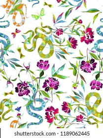 Seamless floral and fauna illustration. Watercolor peonies,snakes and batterflies isolated on white. Ornament for Fabric, textile. t-shirt and clothes.