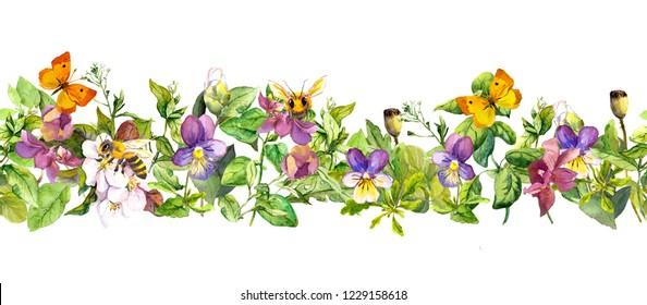 Seamless floral horizontal border. Watercolor spring flowers, summer wild grass, field herbs, butterflies, honee bee. Repeated frame stripe