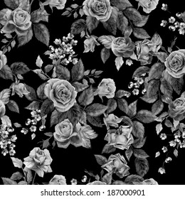 Seamless floral monochrome pattern with of roses on black background, watercolor.