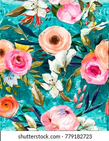 seamless floral oil painted pattern