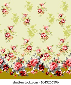 Seamless floral one side border