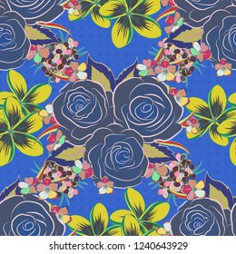 Seamless floral pattern with abstract blue, yellow and pink roses.