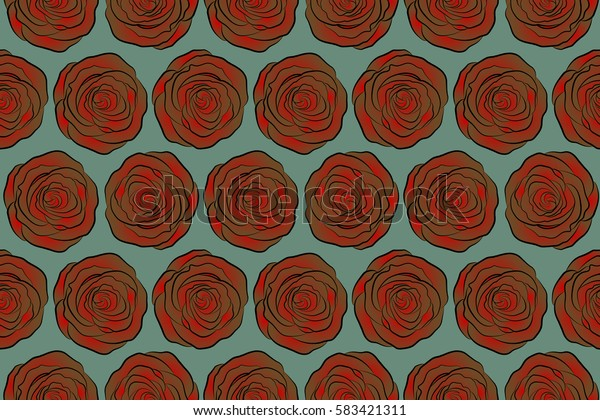 Seamless floral pattern with abstract stylized green, brown and red roses, raster pattern.