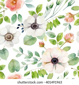 Seamless floral pattern with anemones and rose. Watercolor illustration