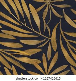 Seamless floral pattern. Art deco background. Gold ink on black paper