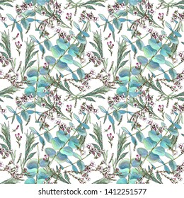 Seamless floral pattern. Australian plants. Pink flowers and mint color leaves on white background
