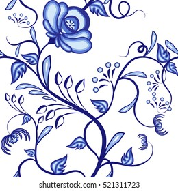 Seamless floral pattern. Background of blue abstract intertwining plants in the national style of painting on porcelain  Rasterized version