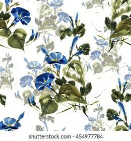 Seamless floral pattern, beautiful bindweed, painted hands, loose brush, watercolor, ink.