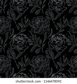 seamless floral pattern with black  background.  Print for fabric, paper, wallpaper, wrapping design, linen, scarf