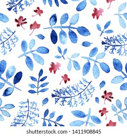 Seamless floral pattern of blue branches and leaves, small purple flowers. Loose watercolor.