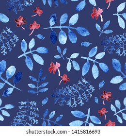 Seamless floral pattern of blue branches and leaves, small purple flowers. Loose watercolor. Dark blue background