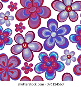 seamless floral pattern in bright multiple colors. Colorful background with flowers and dots in style of child drawing or hippi. Positive spring summer texture.