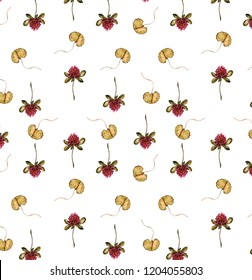 Seamless floral pattern with clover, watercolor illustration.