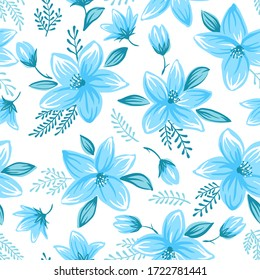 Seamless floral pattern with cute decorative flowers and leaves illustration