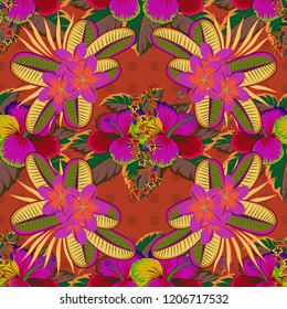 Seamless floral pattern in cute plumeria flowers in magenta, yellow and orange colors.