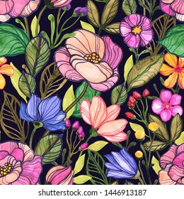 Seamless floral pattern. Design wallpaper, fabric and packaging.