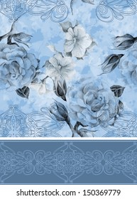 Seamless floral pattern with designed frame
