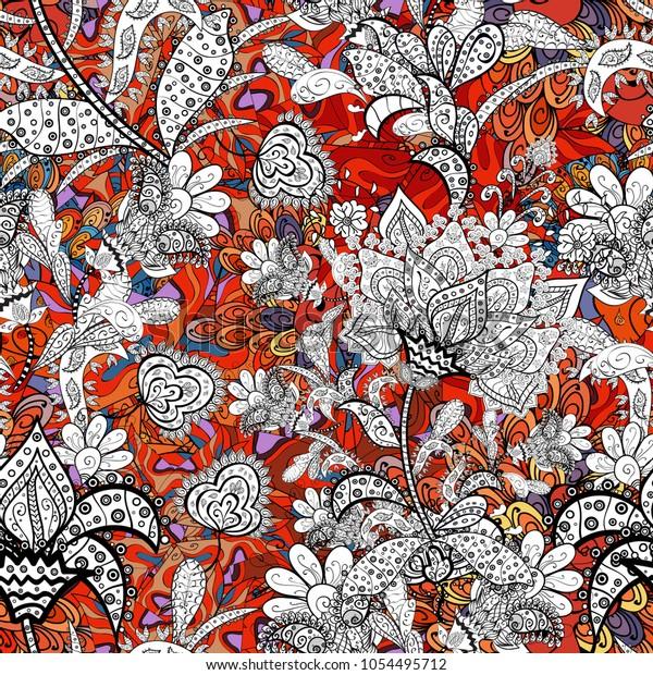 Seamless Floral Pattern Fancy Fabric Pattern Stock