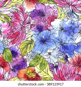 Seamless floral pattern. Flower background. Watercolor painting