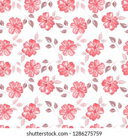 Seamless Floral Pattern. Flower pattern with pink flowers on a white background. Vintage Background for your design.