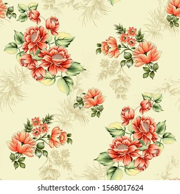 Seamless floral pattern with flowers and background