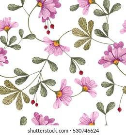 Seamless floral pattern with flowers and leaves.
