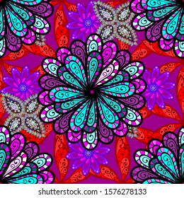 Seamless Floral Pattern in Flowers on red, purple and black colors in watercolor style.