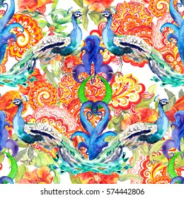 Seamless floral pattern - flowers, peacock birds, eastern decor with paisley. Watercolor