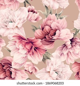Seamless floral pattern with flowers peony on summer background, watercolor illustration. Template design for textiles, interior, clothes, wallpaper