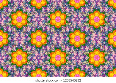 Seamless floral pattern with flowers, watercolor. Raster pattern. Fancy fabric pattern.