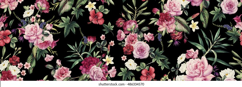 Seamless floral pattern with flowers, watercolor.