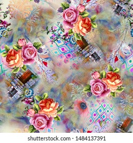 seamless floral pattern with good effects , can be used as digital print on fabric , tiles