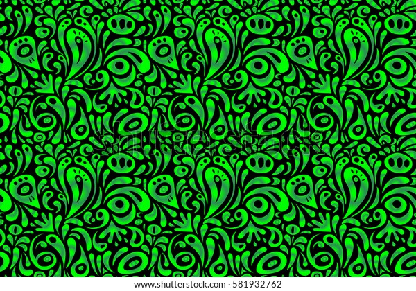 Seamless floral pattern in green colors for design, textile or fabric.