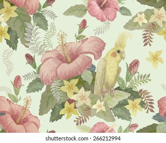 Seamless floral pattern from hand drawn watercolor pink hibiscus, yellow parrot, exotic small flowers and fantasy tropical foliage on light green background