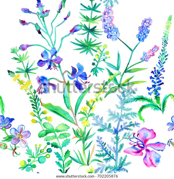 Seamless floral pattern with hand painted watercolor flowers and herbs on white background