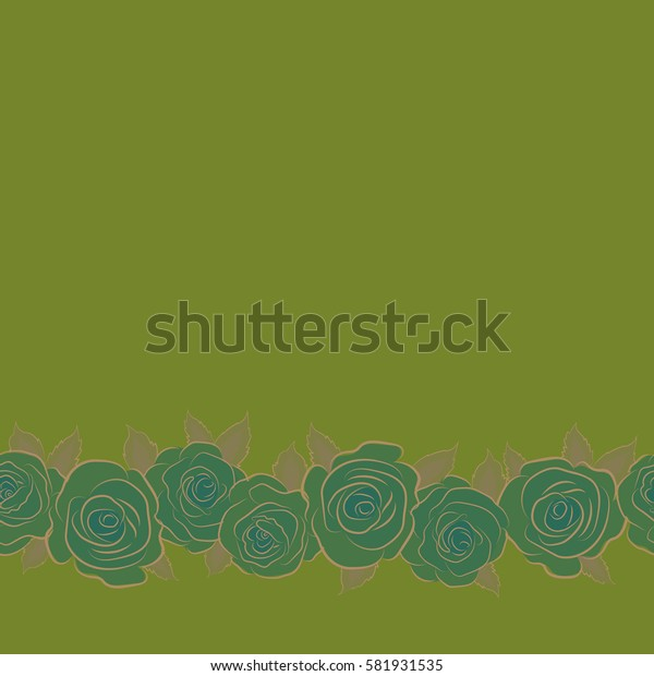Seamless floral pattern with horizontal abstract stylized beige and green roses, pattern with copy space (place for your text).